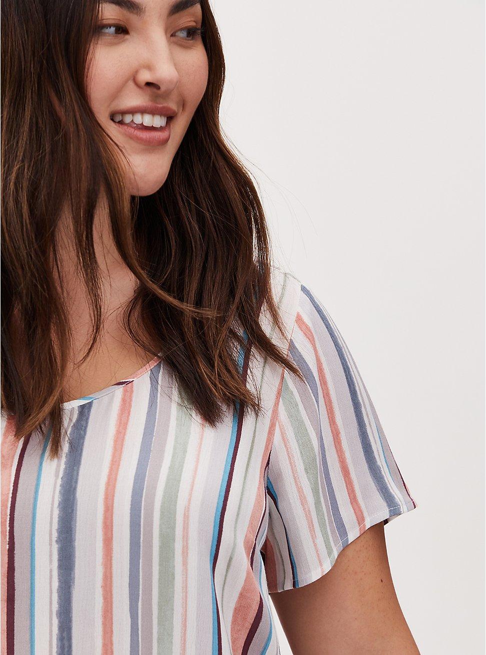 Abbey - Multi Stripe Gauze Button Back BlouseBlouse, STRIPE - WHITE, hi-res