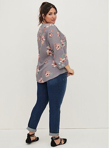 Harper - Slate Grey Floral Challis Pullover Blouse, FLORAL - GREY, alternate