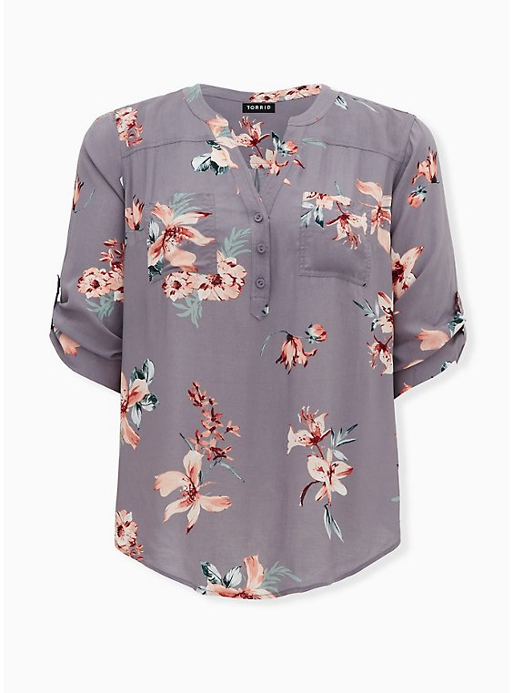 Harper - Slate Grey Floral Challis Pullover Blouse, FLORAL - GREY, ls