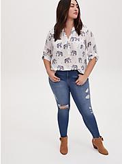Harper - White Challis Elephant Print Pullover Blouse, ELEPHANT - WHITE, alternate