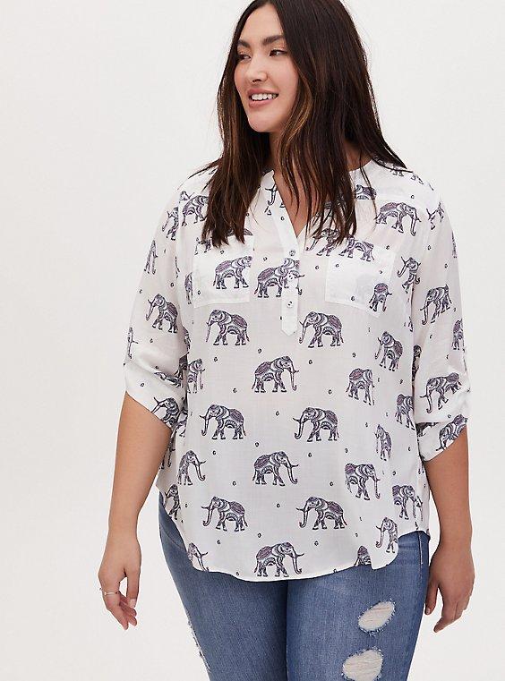Harper - White Challis Elephant Print Pullover Blouse, , hi-res