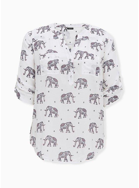 Harper - White Challis Elephant Print Pullover Blouse, ELEPHANT - WHITE, ls