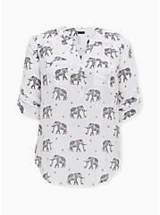 Harper - White Challis Elephant Print Pullover Blouse, ELEPHANT - WHITE, hi-res