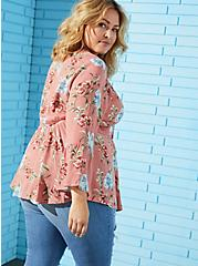 Dusty Coral Floral Crinkle Gauze & Crochet Babydoll Top, FLORAL - WHITE, alternate