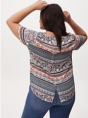 Abbey - Multi Stripe Elephant Print Georgette Button Back Blouse, HENNA - BLACK, alternate