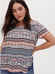 Plus Size Abbey - Multi Stripe Elephant Print Georgette Button Back Blouse, HENNA - BLACK, hi-res