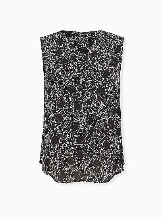 Harper - Black & White Lemon Print Georgette Pullover Tank, LEMONS - BLACK, ls