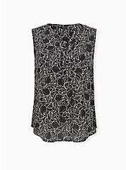 Harper - Black & White Lemon Print Georgette Pullover Tank, LEMONS - BLACK, hi-res