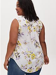 Plus Size Harper - Ivory Floral Georgette Pullover Tank, FLORAL - WHITE, alternate