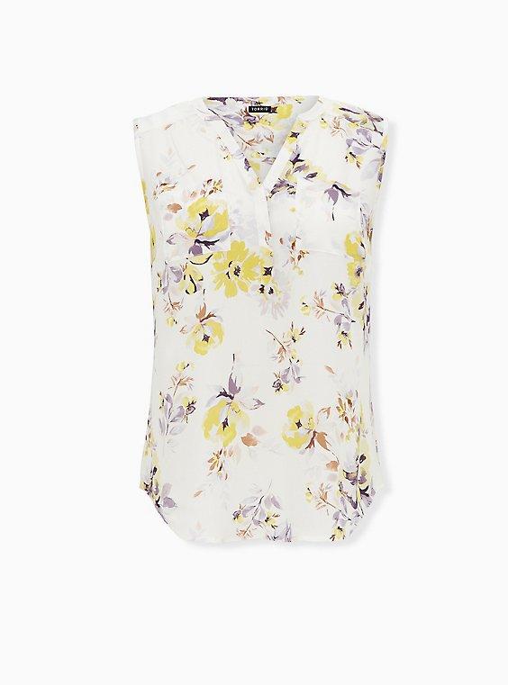 Harper - Ivory Floral Georgette Pullover Tank, FLORAL - WHITE, ls