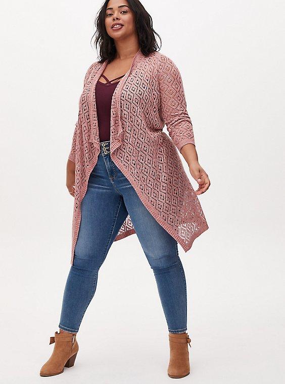 Mauve Pink Diamond Pointelle Drape Front Longline Cardigan, , hi-res