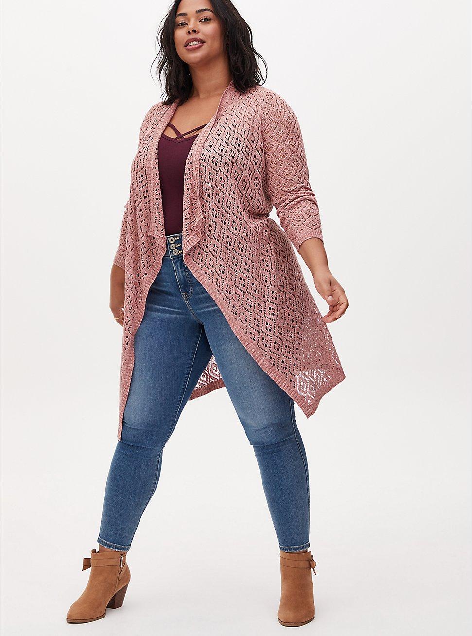 Plus Size Mauve Pink Diamond Pointelle Drape Front Longline Cardigan, DESERT SAND, hi-res