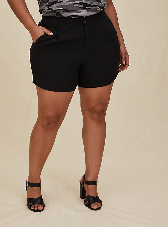 Plus Size Mid Short - Crosshatch Black, , hi-res