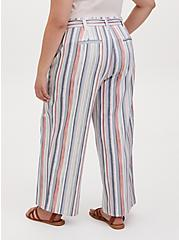 Multi Stripe Crosshatch Self Tie Wide Leg Pant, STRIPES, alternate
