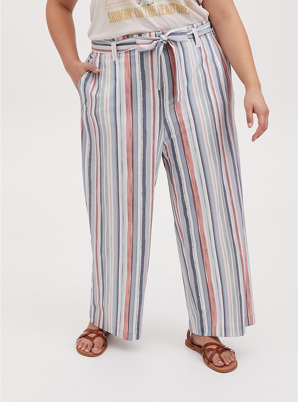 Multi Stripe Crosshatch Self Tie Wide Leg Pant, STRIPES, hi-res