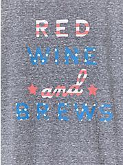 Red White And Brews Heather Grey Crew Tee, MEDIUM HEATHER GREY, alternate