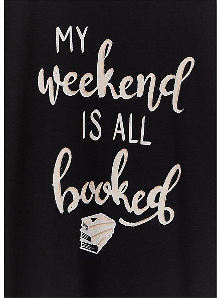 My Weekend Is All Booked Black Crew Tee, DEEP BLACK, alternate