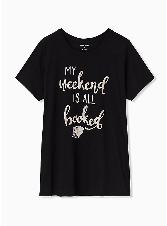 My Weekend Is All Booked Black Crew Tee, DEEP BLACK, hi-res