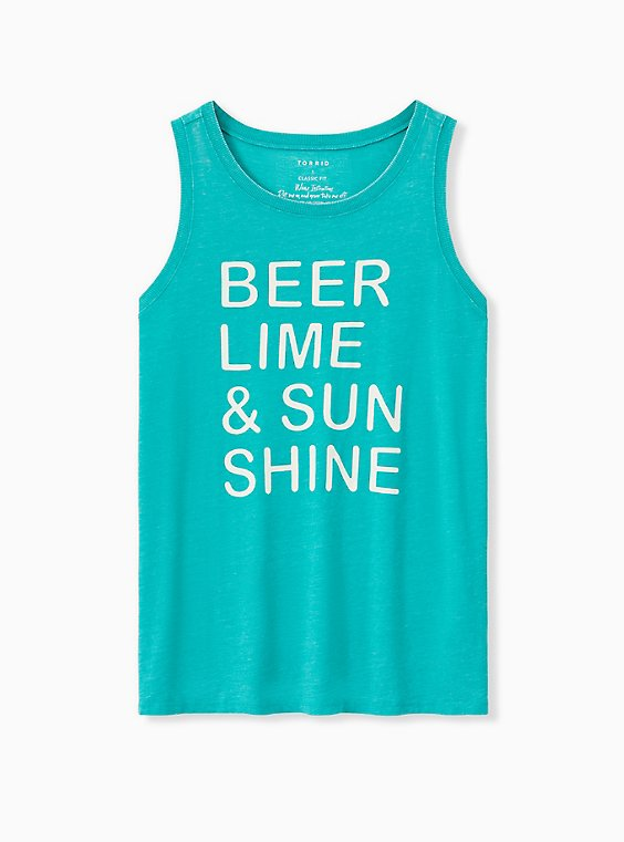 Beer & Sunshine Classic Fit Crew Tank - Vintage Burnout Turquoise, DYNASTY GREEN, ls