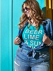 Beer & Sunshine Classic Fit Crew Tank - Vintage Burnout Turquoise, DYNASTY GREEN, hi-res
