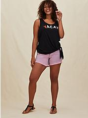 Vacay Black Slub Jersey Tie Front Tank, DEEP BLACK, alternate