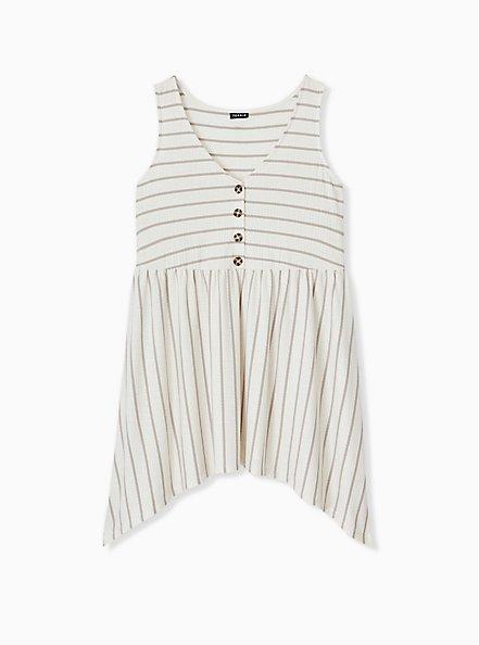 Taupe & Ivory Stripe Textured Sharkbite Babydoll Tank, CLOUD DANCER, alternate