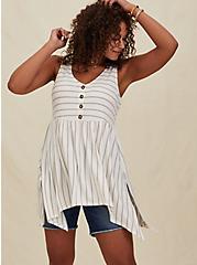 Taupe & Ivory Stripe Textured Sharkbite Babydoll Tank, CLOUD DANCER, hi-res