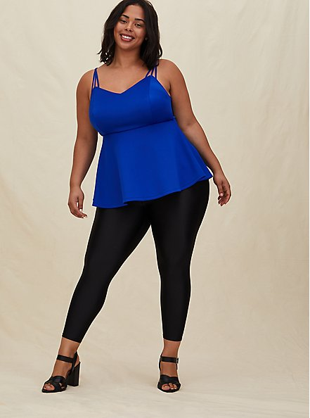 Electric Blue Scuba Knit Peplum Cami, ELECTRIC BLUE, alternate