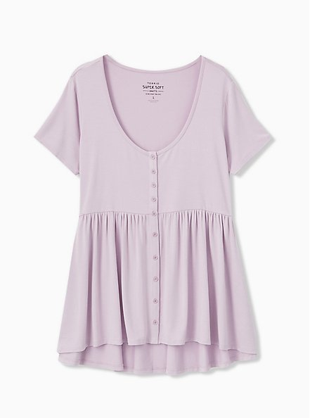Super Soft Lilac Purple Button Front Babydoll Tee, LAVENDER FROST, alternate
