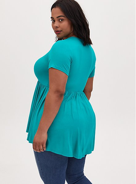 Super Soft Turquoise Button Front Babydoll Top, DYNASTY GREEN, alternate