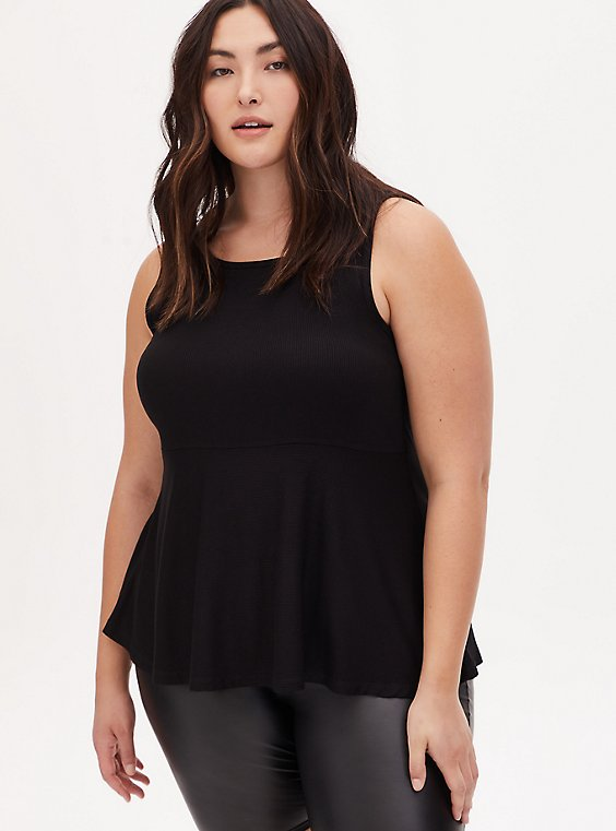 Super Soft Ribbed Black Peplum Tank, , hi-res