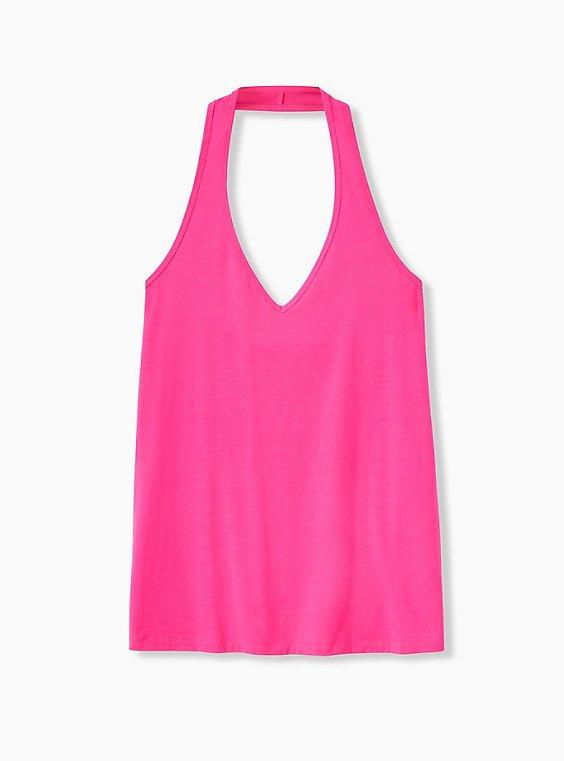 Neon Pink Halter Top, PINK GLO, ls