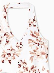White Floral Foxy Halter Top, WATERCOLOR FLORAL, alternate
