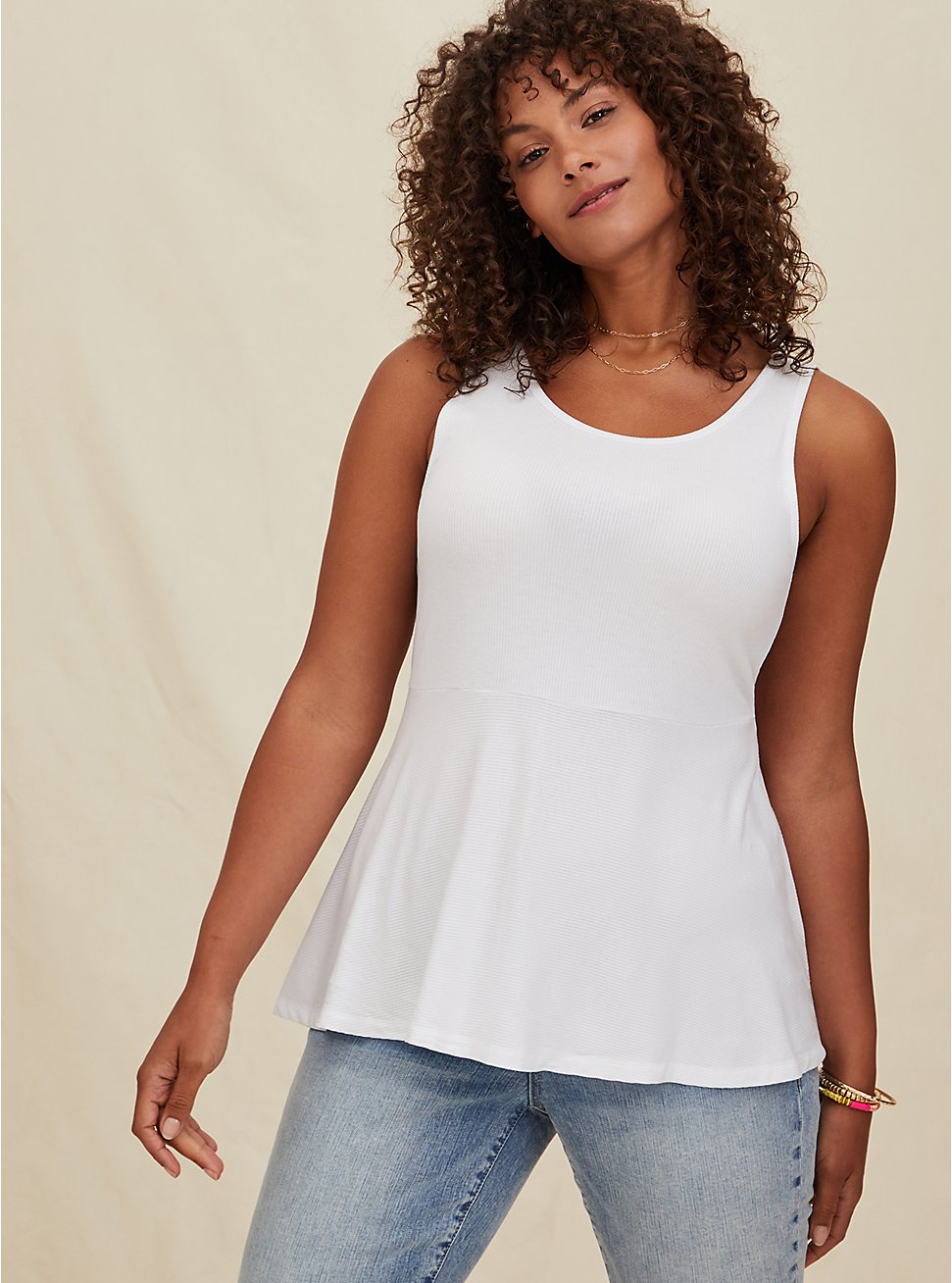 Super Soft Ribbed White Peplum Tank , CLOUD DANCER, hi-res