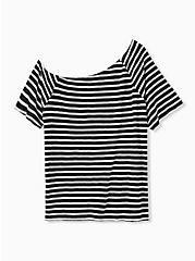Black & White Stripe Slub Jersey Off Shoulder Tee, BLACK-WHITE STRIPE, alternate