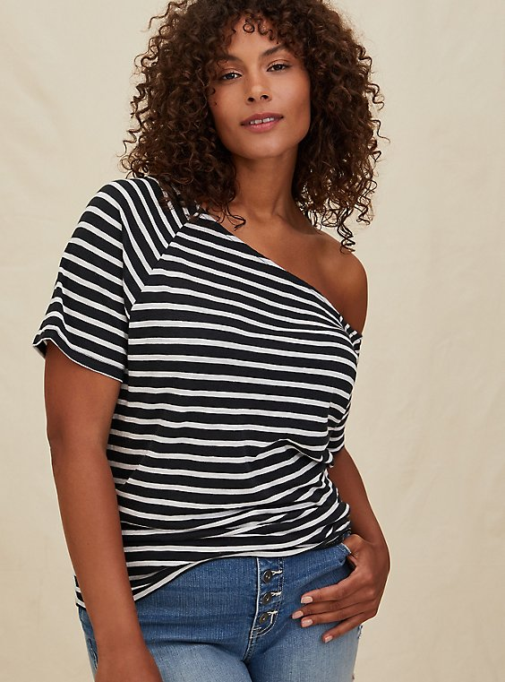 Black & White Stripe Slub Jersey Off Shoulder Tee, , hi-res