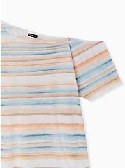 Multi Stripe Slub Jersey Off Shoulder Tee, CLOUD DANCER, alternate