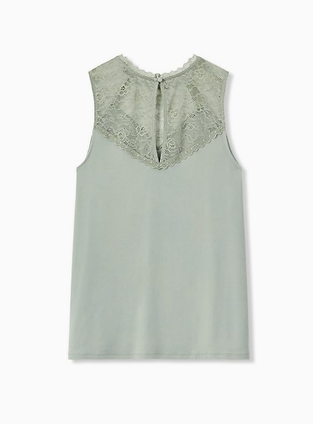 Sage Green Studio Knit & Lace Sleeveless Top, SEAGRASS, alternate