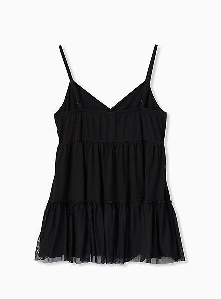Black Mesh Shirred Hem Babydoll Tunic Cami , DEEP BLACK, alternate