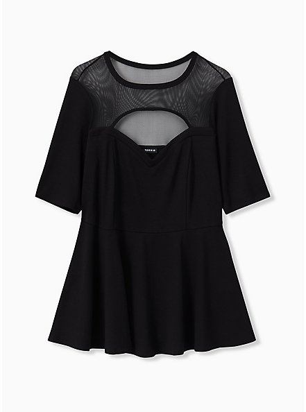 Black Ponte & Mesh Cutout Peplum Top, DEEP BLACK, alternate