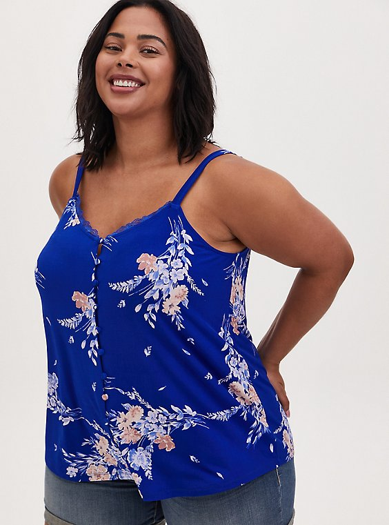 Electric Blue Floral Studio Knit Button Front Swing Cami, , hi-res
