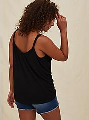 Black Studio Knit Button Front Swing Cami, DEEP BLACK, alternate