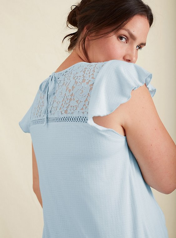 Light Blue Textured Lace Yoke Top, , hi-res