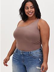 Dark Taupe One Shoulder Foxy Tank, DEEP TAUPE, hi-res