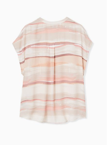 Plus Size Pink Multi Watercolor Georgette Zip Front Dolman Blouse , STRIPE - WHITE, alternate