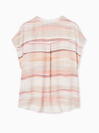 Pink Multi Watercolor Georgette Zip Front Dolman Blouse , STRIPE - WHITE, alternate