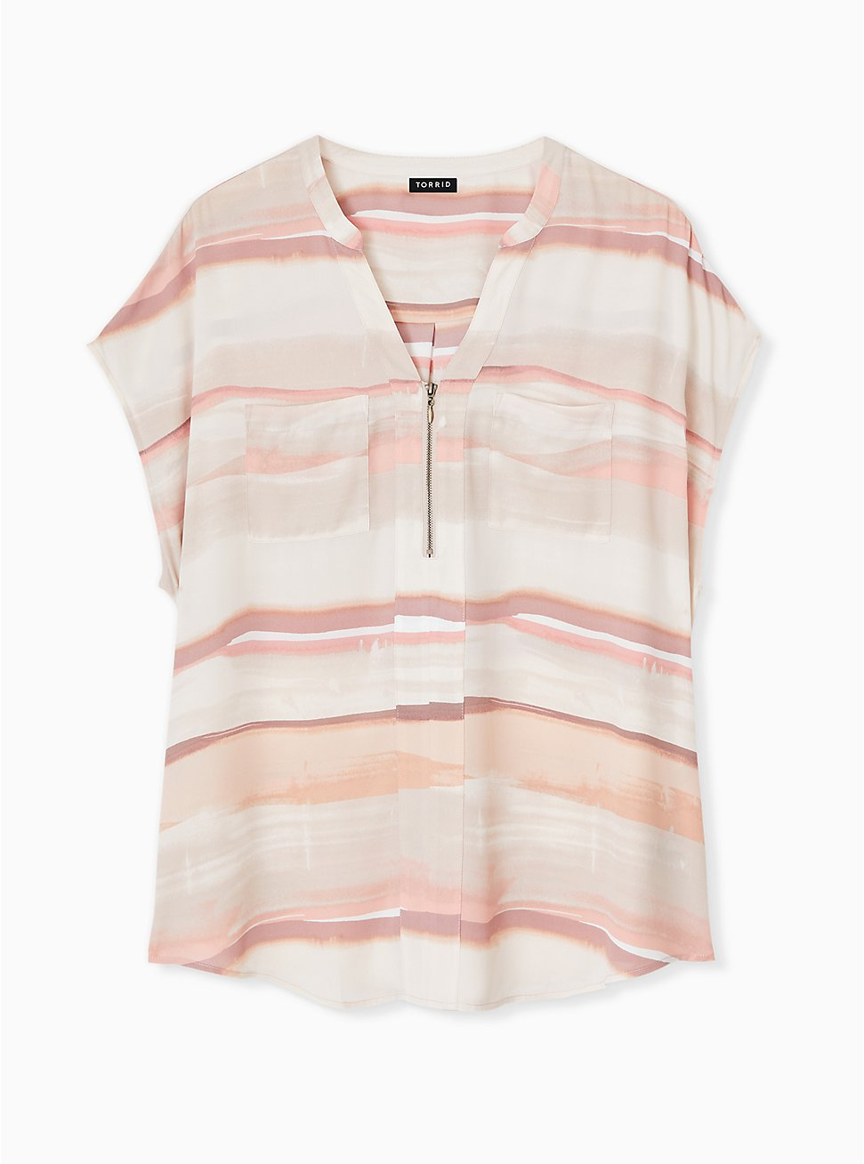 Pink Multi Watercolor Georgette Zip Front Dolman Blouse , STRIPE - WHITE, hi-res