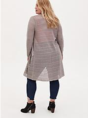 Pebble Grey Pointelle Open Front Longline Cardigan, ASH, alternate