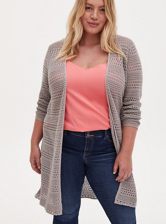 Pebble Grey Pointelle Open Front Longline Cardigan, , hi-res