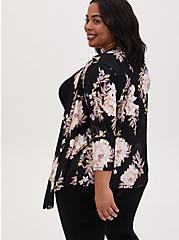 Black Floral Studio Knit Drape Front Cardigan, , alternate